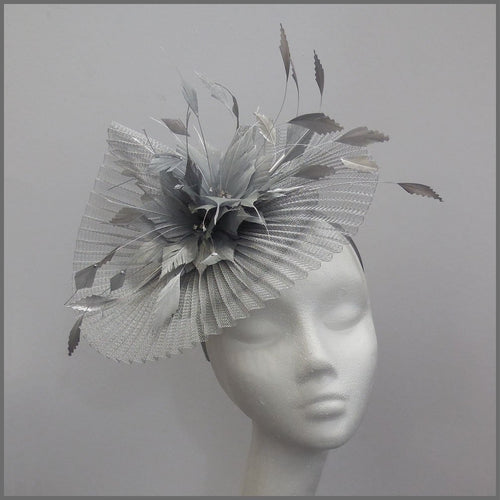 Elegant Pleated Crinoline Occasion Fascinator in Silver