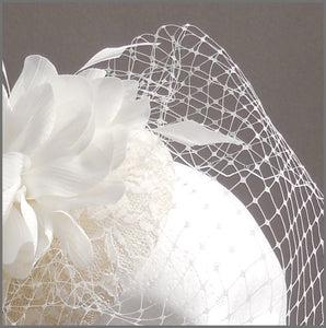 Ivory Flower Bridal Headpiece with Birdcage Veil