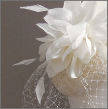 Load image into Gallery viewer, Ivory Flower Bridal Headpiece with Birdcage Veil