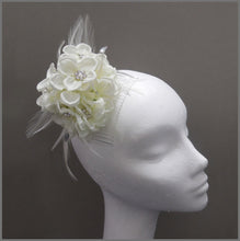 Load image into Gallery viewer, Ivory Flower Fascinator Bridesmaid Headpiece