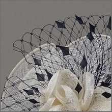 Load image into Gallery viewer, Ivory & Navy Flower Hatinator for Ladies Day