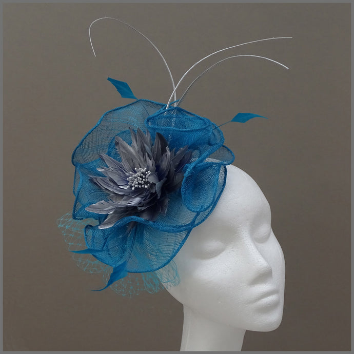 Kingfisher Blue & Silver Fascinator Hatinator for Ladies Day at the Races