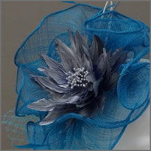 Load image into Gallery viewer, Kingfisher Blue & Silver Fascinator Hatinator with Feather Flower