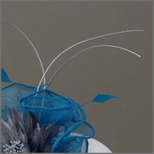 Load image into Gallery viewer, Kingfisher Blue & Metallic Silver Disc Fascinator on Comb Slide
