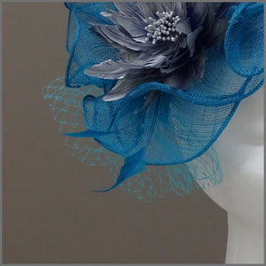Kingfisher Blue & Metallic Silver Fascinator Hatinator for Formal Event