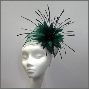 Dramatic Emerald Green Feather Headpiece for Ladies Day