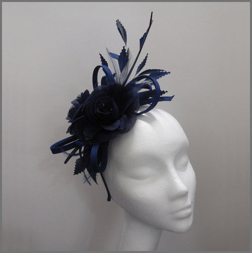 Ladies Day Navy Blue Flower Feather Headpiece