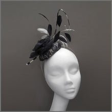 Load image into Gallery viewer, Ladies Day Pillbox Feather Fascinator in Navy & White