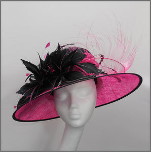 Ladies Feather Wedding Hat in Fuchsia Pink & Black