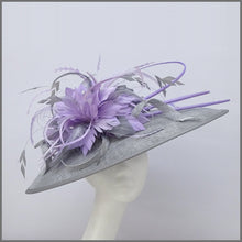 Load image into Gallery viewer, Metallic Silver & Lilac Feather Disc Fascinator for Royal Ascot