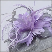 Load image into Gallery viewer, Metallic Silver & Lilac Feather Disc Fascinator for Derby Day