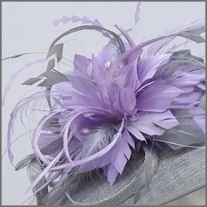 Metallic Silver & Lilac Feather Disc Fascinator for Derby Day