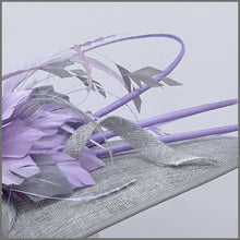 Load image into Gallery viewer, Metallic Silver & Lilac Feather Hatinator for Ladies Day