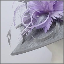 Load image into Gallery viewer, Metallic Silver & Lilac Feather Hatinator for Formal Event