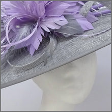 Load image into Gallery viewer, Metallic Silver & Lilac Feather Disc Fascinator on Headband