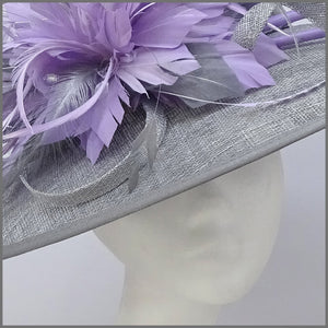 Metallic Silver & Lilac Feather Disc Fascinator on Headband