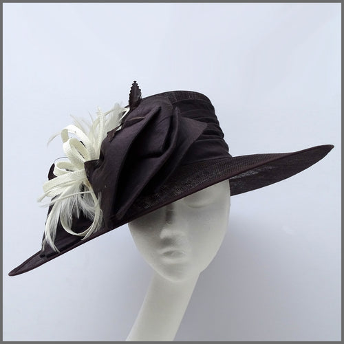 Ladies Race Day Hat in Chocolate Brown & Ivory
