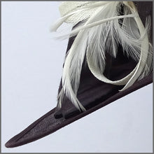Load image into Gallery viewer, Ladies Feather Hat in Chocolate Brown & Ivory