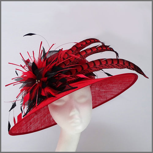 Wedding or Ascot Feather Hat in Red & Black