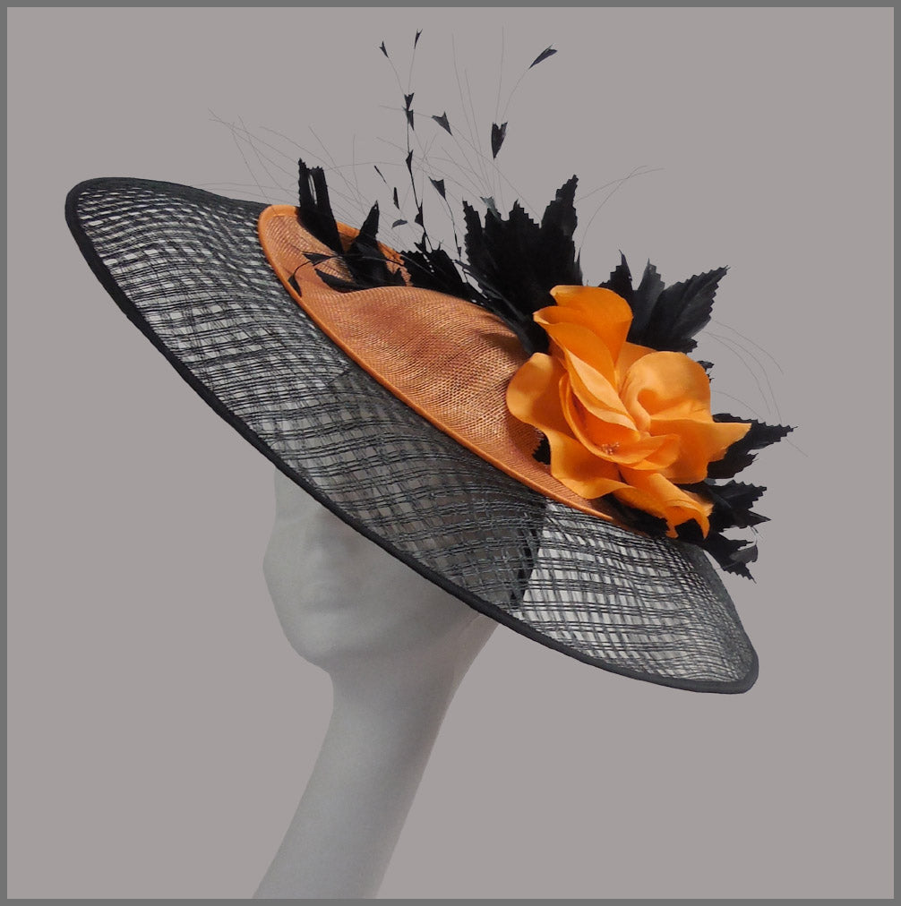 Large Ascot Races Apricot Orange & Black Hatinator