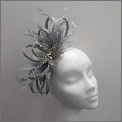 Large Formal Silver Crystal Flower Fascinator