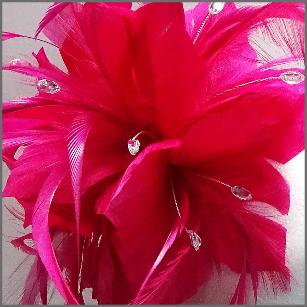 19921773 ... Load image into Gallery viewer, Large Fuschia Pink Feather Flower  Fascinator Headband ...