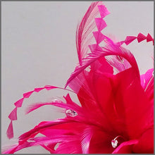 Load image into Gallery viewer, Large Fuschia Pink Feather Flower Fascinator Headband