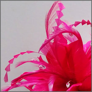 Large Fuschia Pink Feather Flower Fascinator Headband