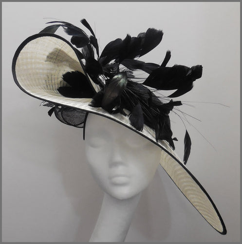 Large Ivory & Black Feather Hatinator for Ascot