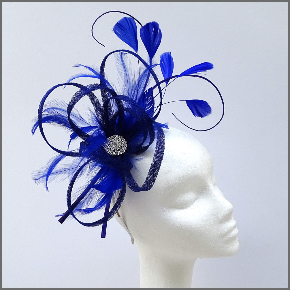 Large Lightweight Fascinator in Cobalt Blue