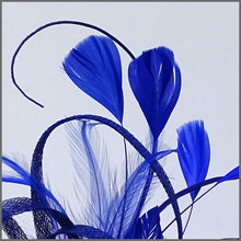 Load image into Gallery viewer, Large Lightweight Feather Fascinator in Cobalt Blue