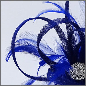 Large Lightweight Sinamay Fascinator in Cobalt Blue