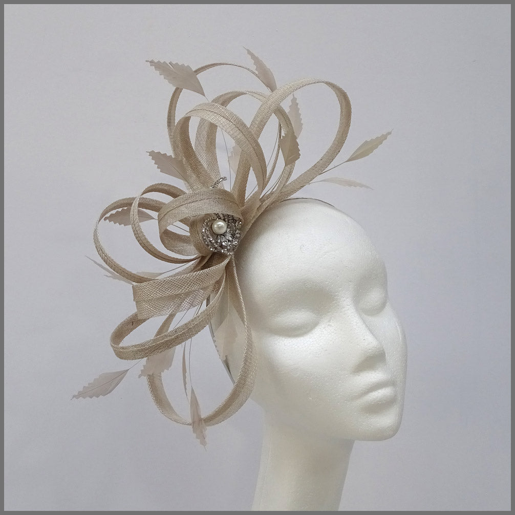 Large Delicate Race Day Fascinator in Oyster