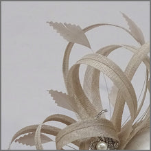 Load image into Gallery viewer, Large Delicate Race Day Fascinator in Oyster
