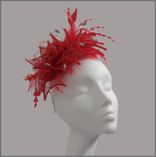 Large Red Feather & Sinamay Race Day Fascinator