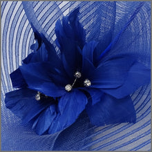 Load image into Gallery viewer, Large Unique Cobalt Blue Ladies Day Flower Fascinator