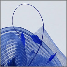 Load image into Gallery viewer, Large Unique Cobalt Blue Ladies Day Crinoline Fascinator