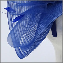 Load image into Gallery viewer, Large Unique Cobalt Blue Ladies Day Headband Fascinator