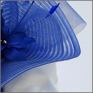 Large Unique Cobalt Blue Ladies Day Crinoline Fascinator