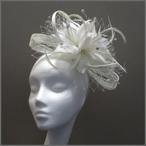 Large White Feather Flower Occasion Fascinator