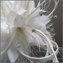Load image into Gallery viewer, Large White Feather Flower Occasion Fascinator