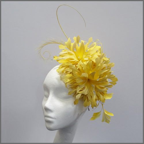 Large Yellow Occasion Flower Feather Fascinator