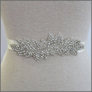 Bridal Wedding Dress Belt in Rhinestone Leaf Design