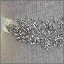 Load image into Gallery viewer, Bridal Wedding Dress Belt in Rhinestone Leaf Design