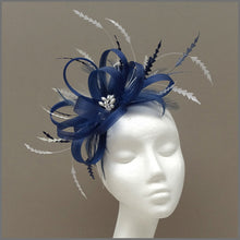 Load image into Gallery viewer, Light Navy Blue & White Fascinator for Formal Event