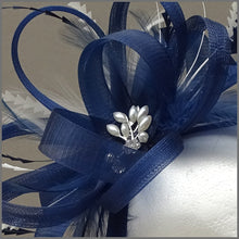Load image into Gallery viewer, Light Navy Blue & White Wedding Guest Fascinator
