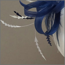 Load image into Gallery viewer, Light Navy Blue & White Fascinator on Headband