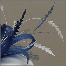 Load image into Gallery viewer, Light Navy Blue & White Race Day Fascinator
