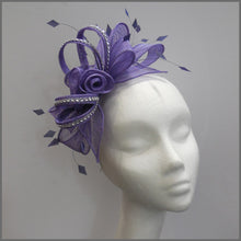 Load image into Gallery viewer, Light Purple Rose Flower Formal Fascinator