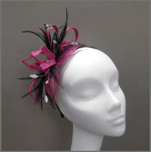 Load image into Gallery viewer, Magenta & Black Wedding Guest Feather Fascinator